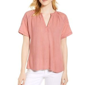 Lucky Brand Embroidered Knit Vneck Top